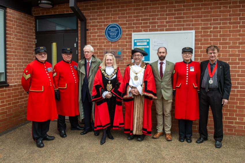 Dignitaries at the unveiling of the Constance Baker plaque in Bishops Park