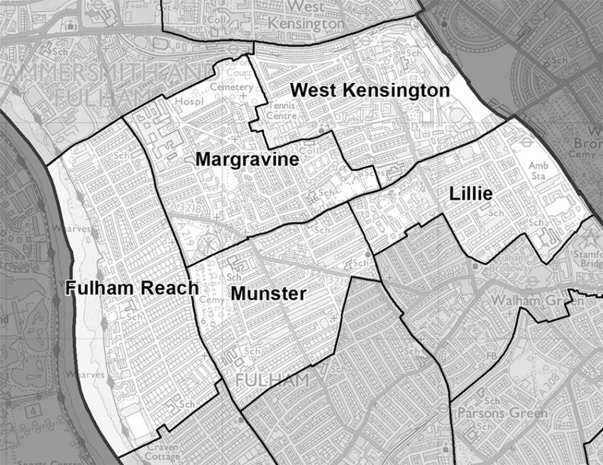 Map of proposed wards in North Fulham