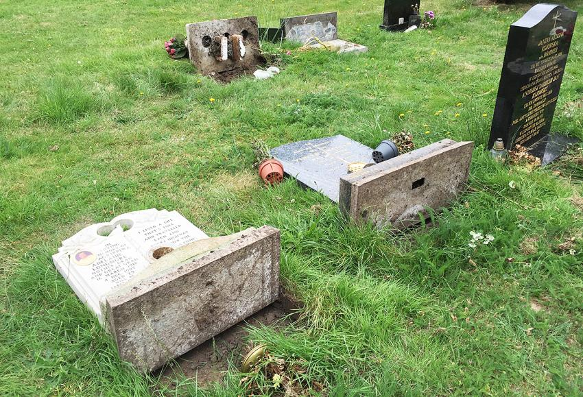 Vandalism at North Sheen Cemetery