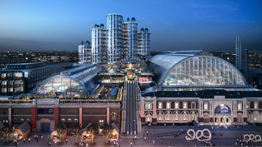 Computer generated image of what Olympia London will look like - showing two exhibition halls with a large escalator between them, and new roof terrace hospitality settings