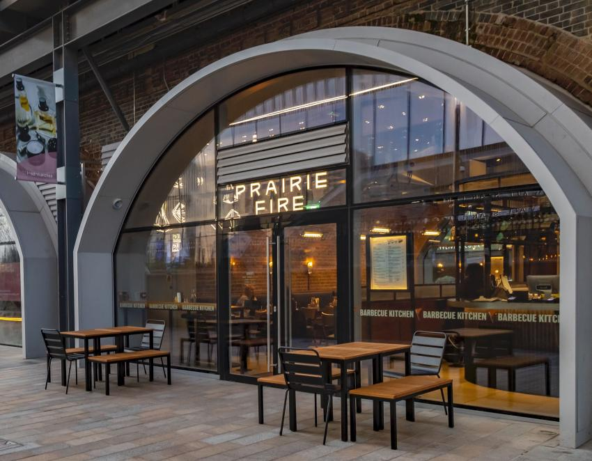 Prairie Fire BBQ situated in railway arches adjacent to Westfield London in White City