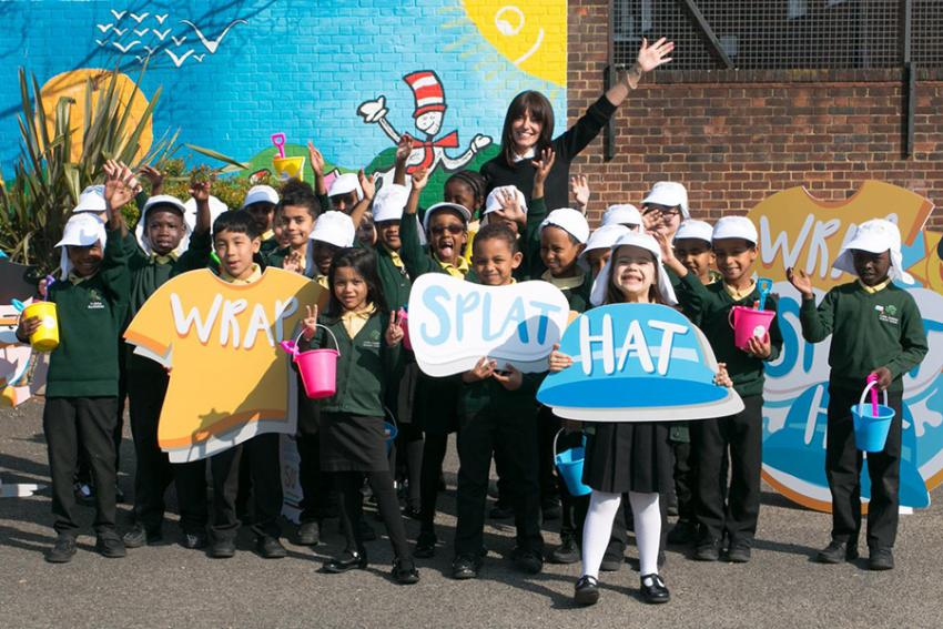 Davina McCall with students from Flora Gardens primary school