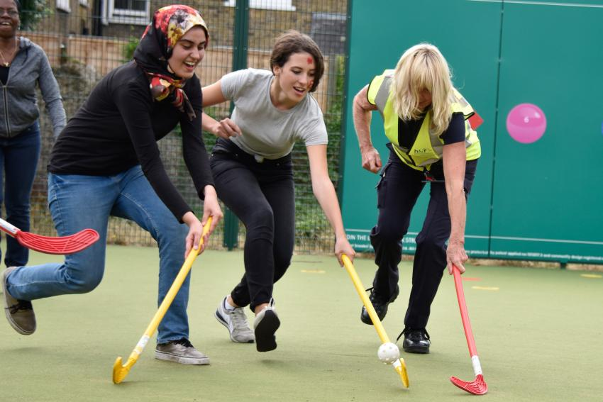 Hockey was among the fun at the launch