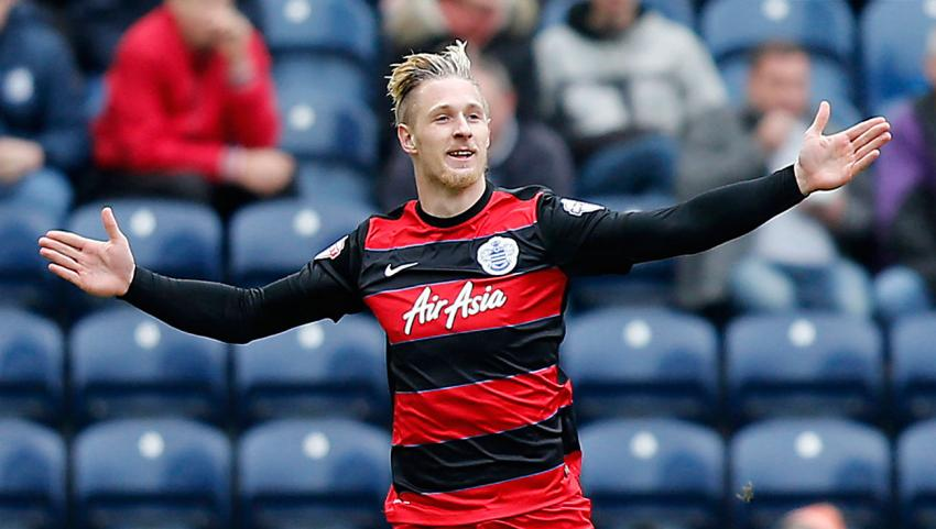 Sebastian Polter of QPR celebrates scoring his team's first goal against Preston North End. Picture: Action Images