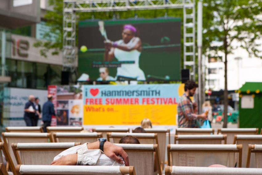 Serena Williams on the big screen in Lyric Square