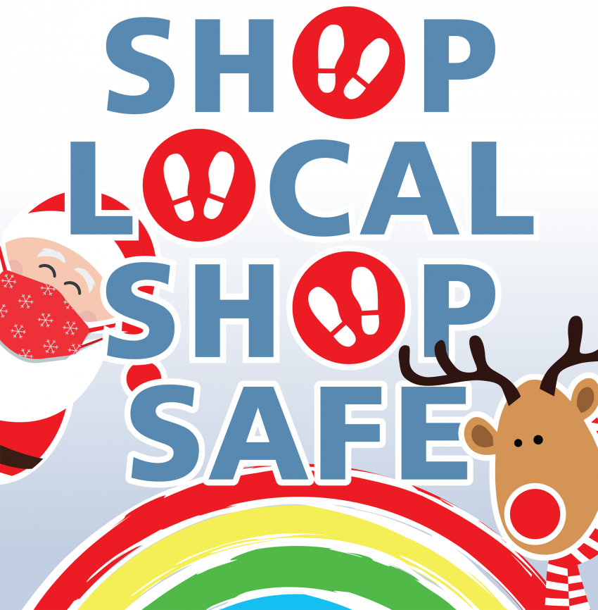 Shop Local, Shop Safe campaign graphic showing Santa, a reindeer and a rainbow