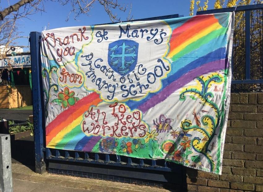 The thank you message banner displayed attached to a gate outside St Mary's Catholic Primary School in Masbro Road