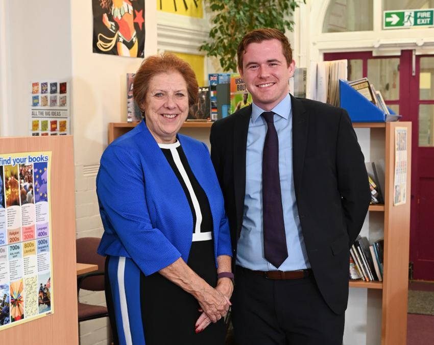 Cllr Larry Culhane with Fulham Cross Girls' School headteacher, Denise Fox