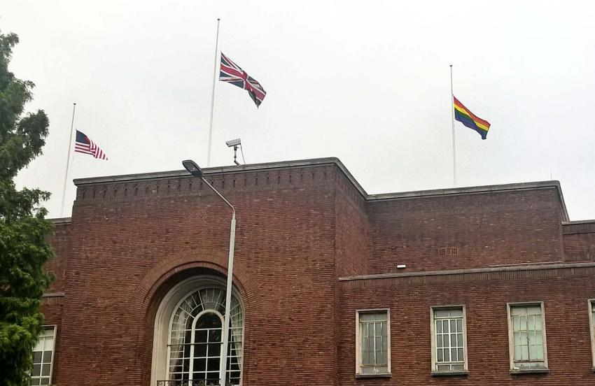 UK, USA and LGBT flags at half mast over Hammersmith Town Hall