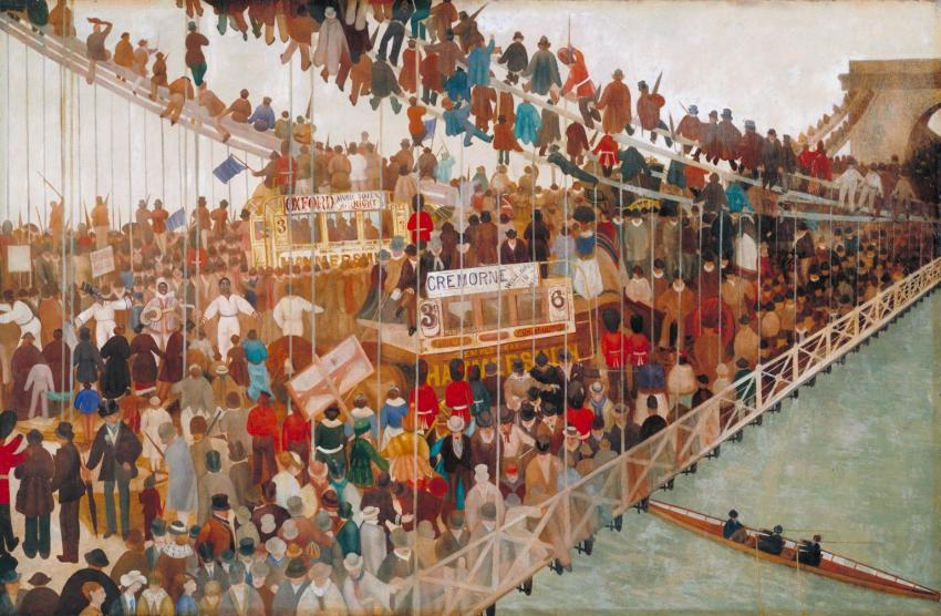Oil paint on canvas - Hammersmith Bridge on Boat-race Day by Walter Greaves