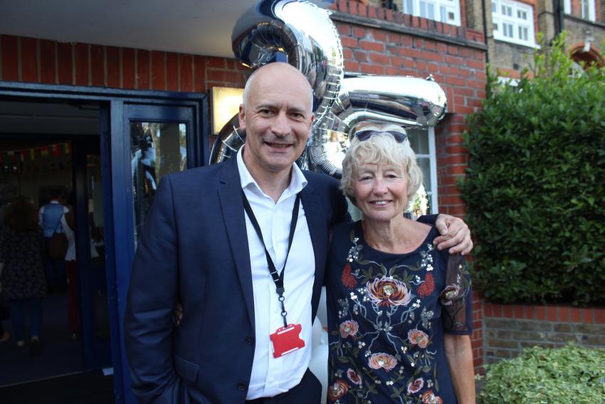 William Morris Sixth Form principal Matthew Coulbeck with founding principal Liz Walton
