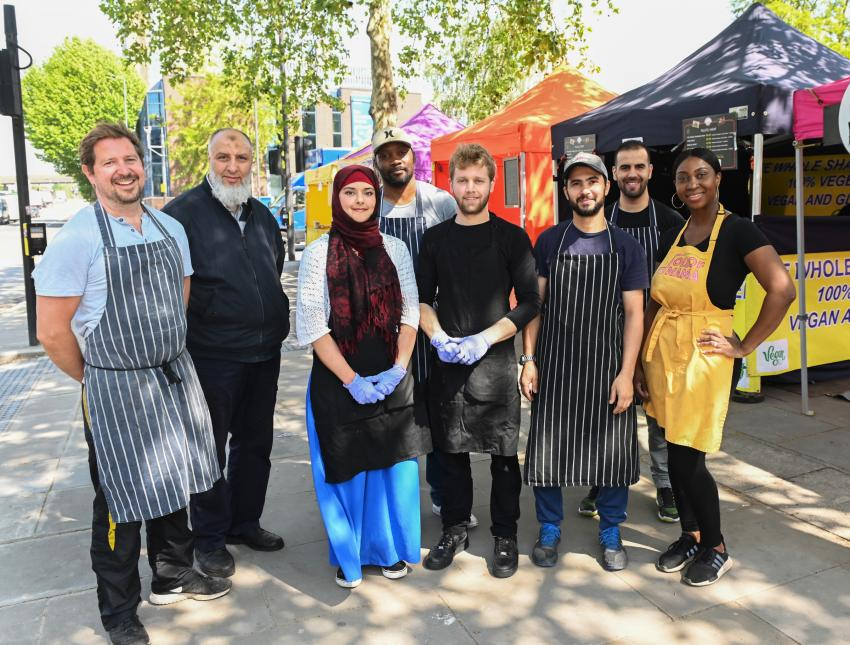 Traders from the new Wood Lane international street food market in White City