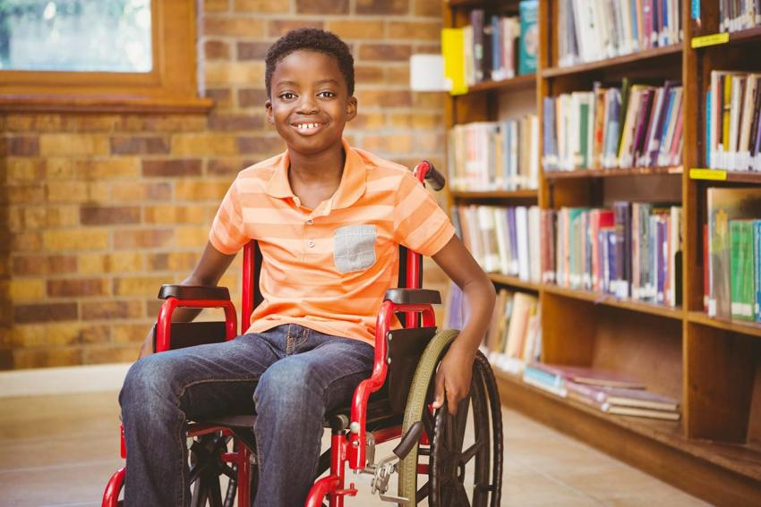 Young person in a wheelchair