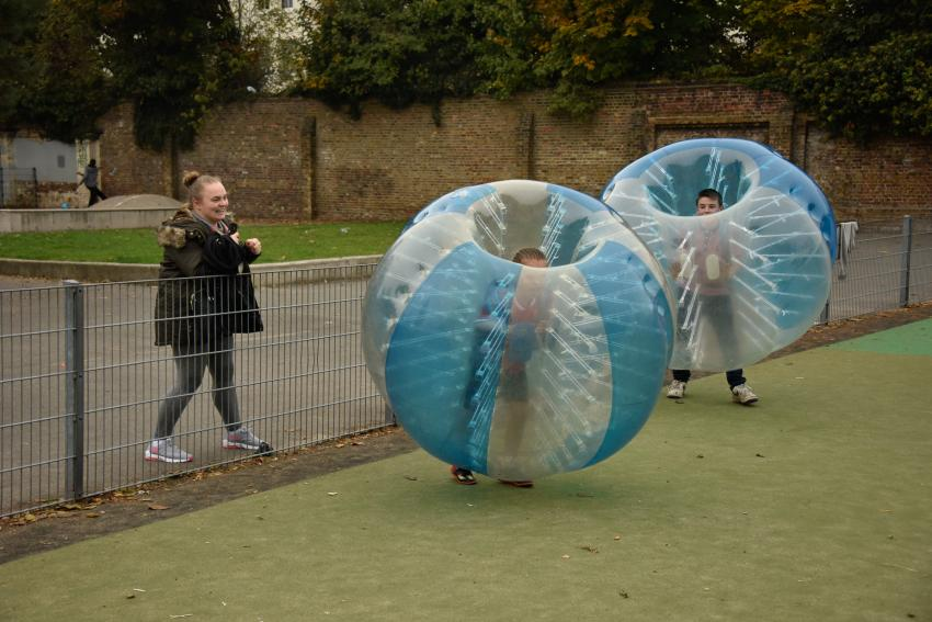 Zorbing - playing football while embedded in a huge inflatable bubble - was one of a host of fun activities