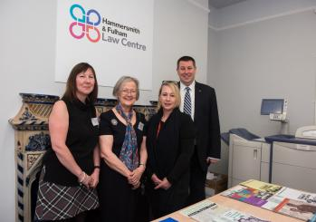Sue James, Baroness Hale, Cllr Sue Fennimore and Cllr Stephen Cowan standing inside the new H&F Law Centre premises at Hammersmith Library