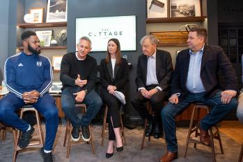 Gary Lineker takes part in a round table discussion at Craven Cottage