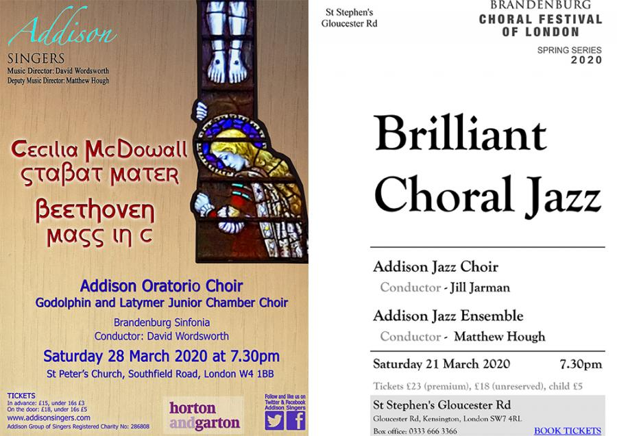 Addison Singers at St Peter's Church on Saturday 28 March, and on Saturday 21 March at St Peter's Church