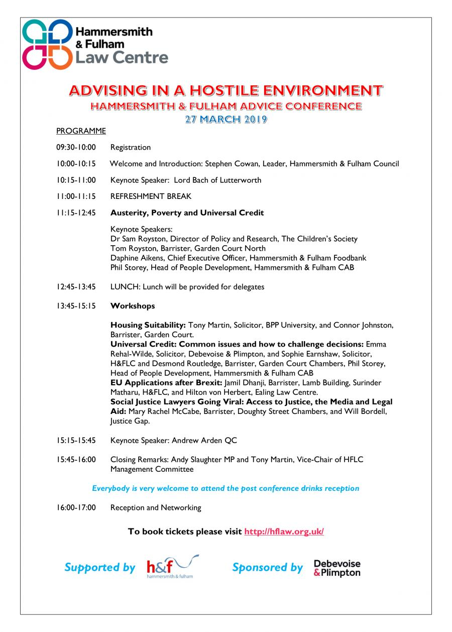 Advising in a Hostile Environment conference programme