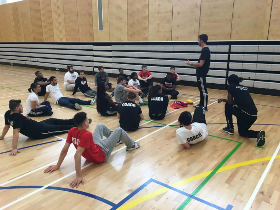 Apprentices in a sports hall