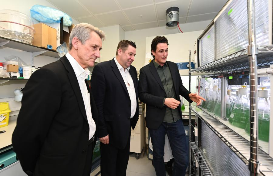 Professor Neil Alford, Cllr Stephen Cowan and Julian Melchiorri talk about the new biosolar leaf technology