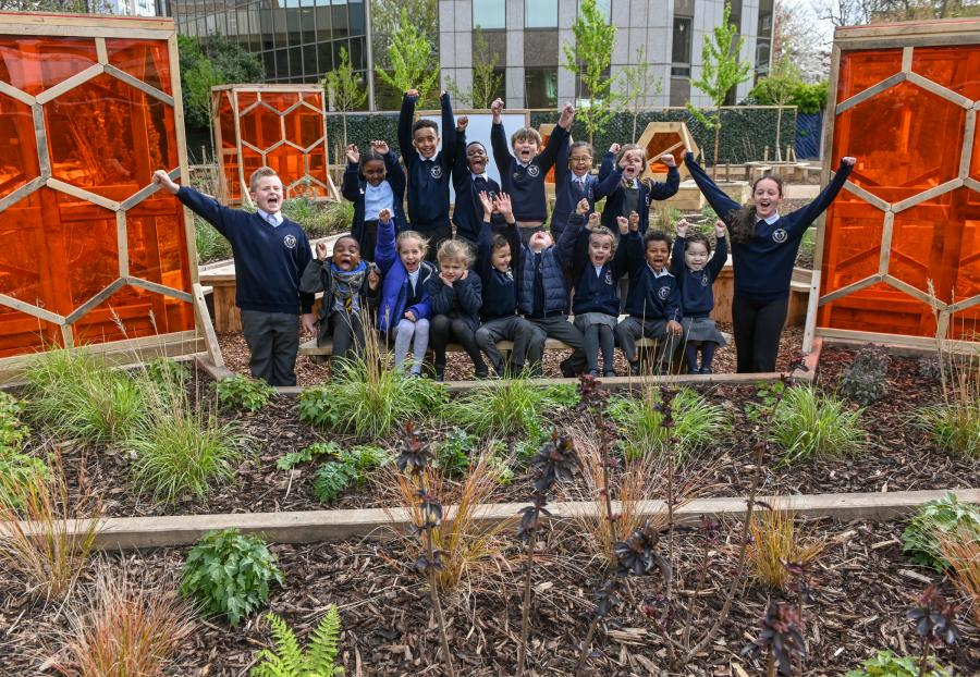 St Paul's primary school pupils unveil their new bee-themed garden