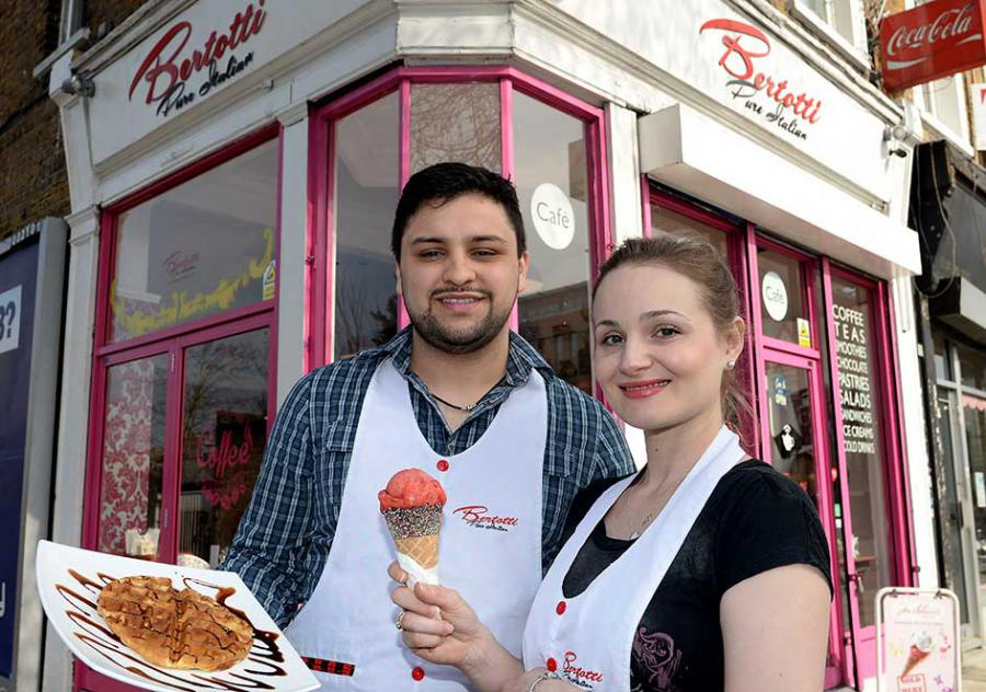 Diego Alfonso and Suzy Bertotti outside their new Goldhawk Road shop