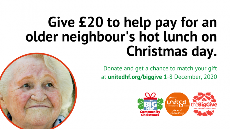 Give $20 to help pay for an older neighbour's hot lunch on Christmas Day. Donate and get a chance to match your gift at united.org/biggive, 1-8 December 2020