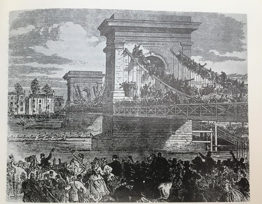 A contemporary illustration of Boat Race day on Hammersmith Bridge