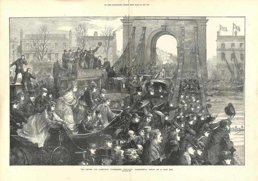 Drawing of Hammersmith Bridge on Boat Race day, taken from The Illustrated London News, March edition, 1872