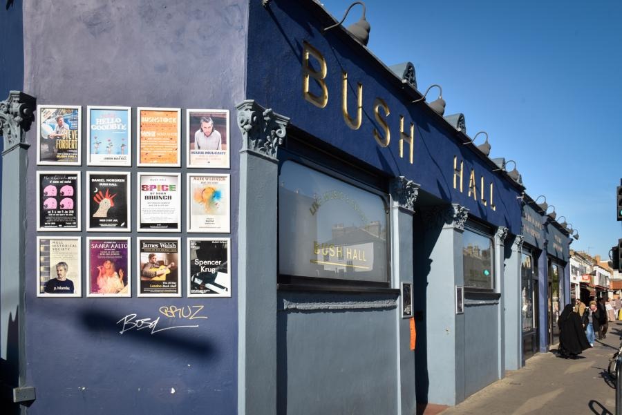 Exterior of Bush Hall showing signage and the main entrance