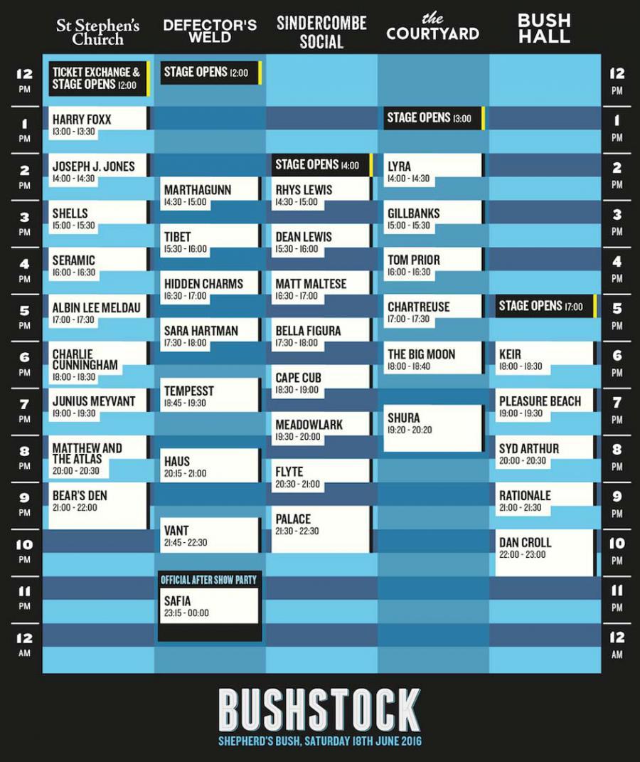 Bushstock 2016 schedule