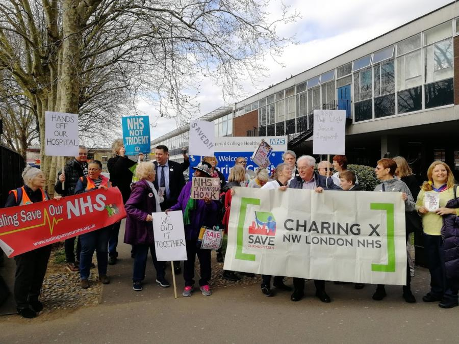 Save Our Hospitals campaigners joined by H&F Council Leader Cllr Stephen Cowan outside Charing Cross Hospital