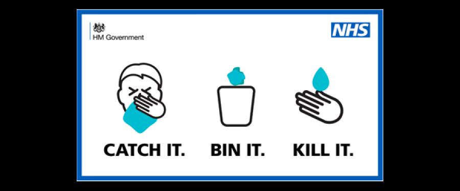 Government advice graphic about coronavirus - Catch it. Bin it. Kill it.