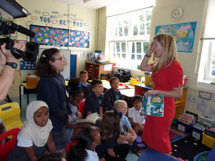 Cressida Cowell in a classroom at Wormholt Park primary school