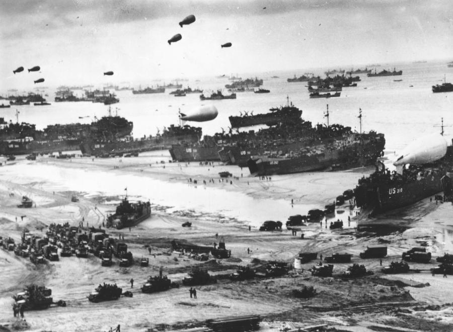 Fleets of US transport and landing craft on D-Day