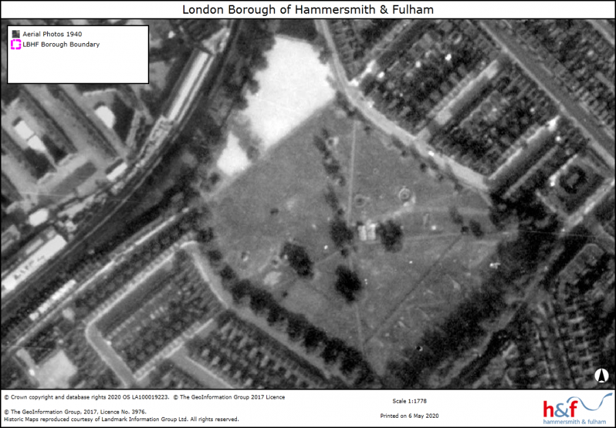 Monochrome aerial view of Eel Brook Common showing map legends