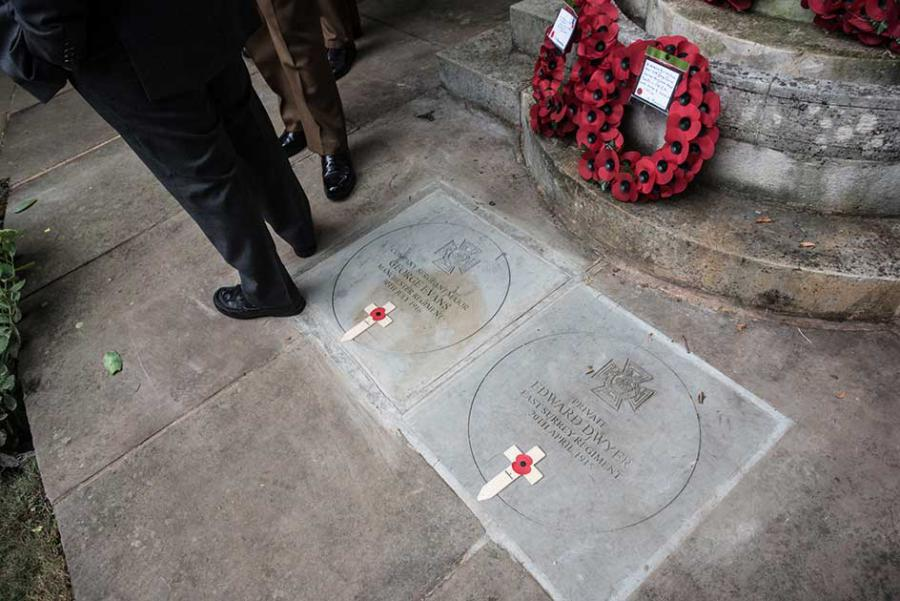 The memorial stones to the two brave soldiers