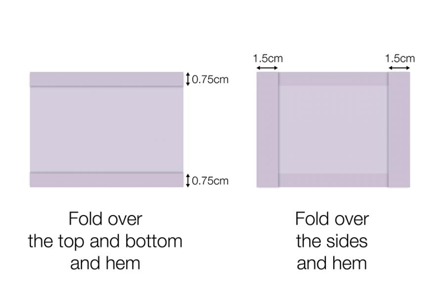 Fold over the top and bottom and hem leaving 0.75cm overlaps, fold over the sides and hem leaving 1.5cm overlaps