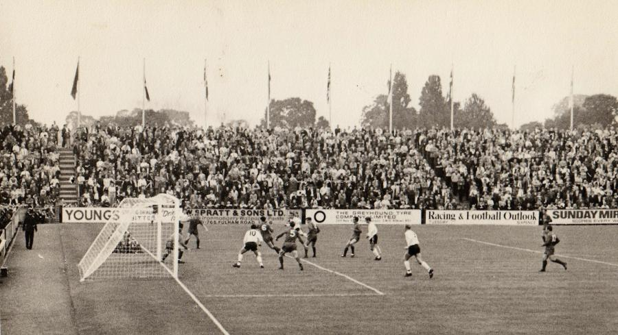 Flagpoles at Craven Cottage in the 1960s from inside the ground