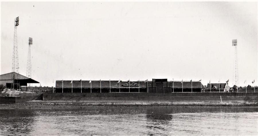 Flagpoles at Craven Cottage in the 1960s