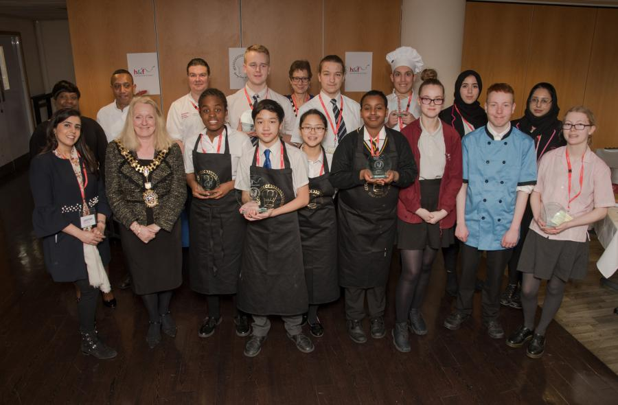 The 12 finalists of the 2019 Young Chef of the Year competition, the judges and the Mayor of Hammersmith & Fulham
