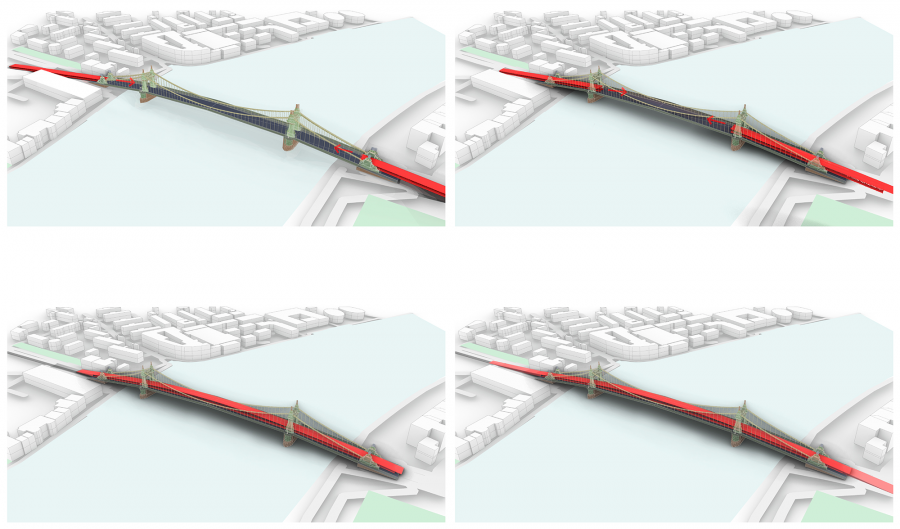 Four CGI images showing the existing Hammersmith Bridge structure, and in red blocks how the temporary structure would be launched over the existing bridge in stages