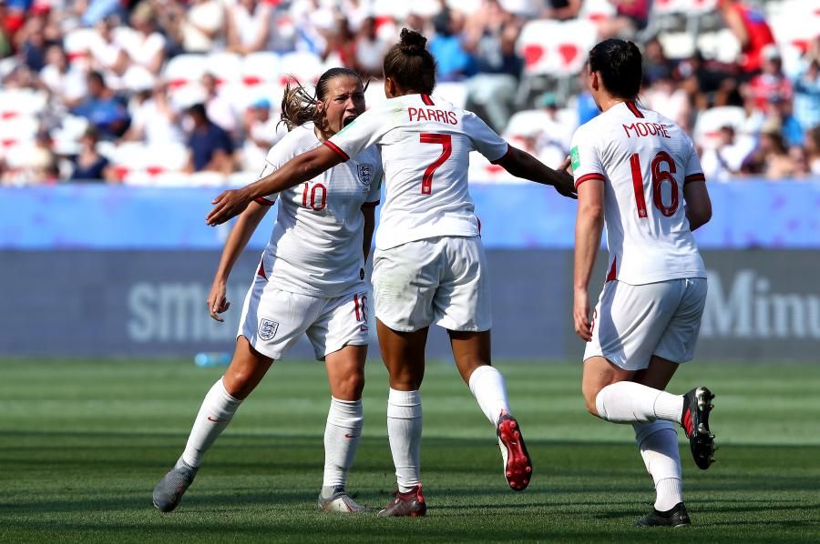 Fran Kirby celebrates with England Women teammate Nikita Parris