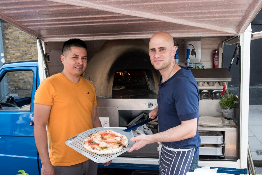Freshly cooked pizza at Hammersmith Market
