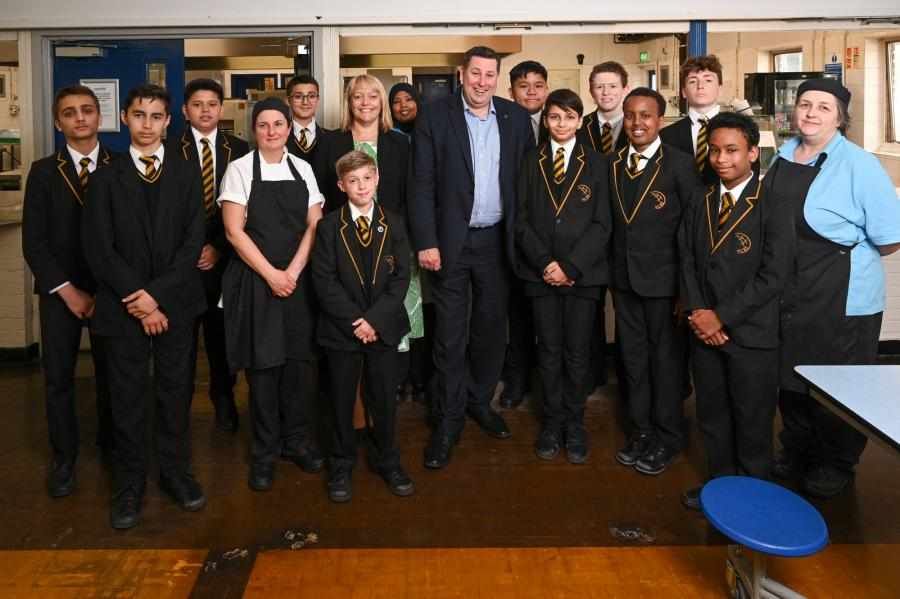 Cllr Stephen Cowan with students from Fulham College Boys' School