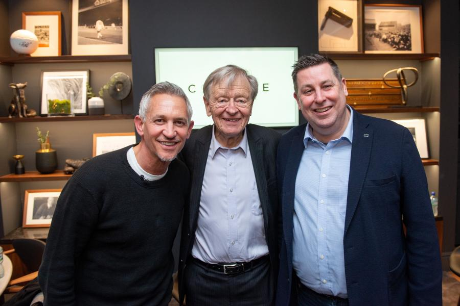 Gary Lineker, Lord Alf Dubs and H&F Council Leader, Cllr Stephen Cowan, lined up for a photo opportunity inside Craven Cottage