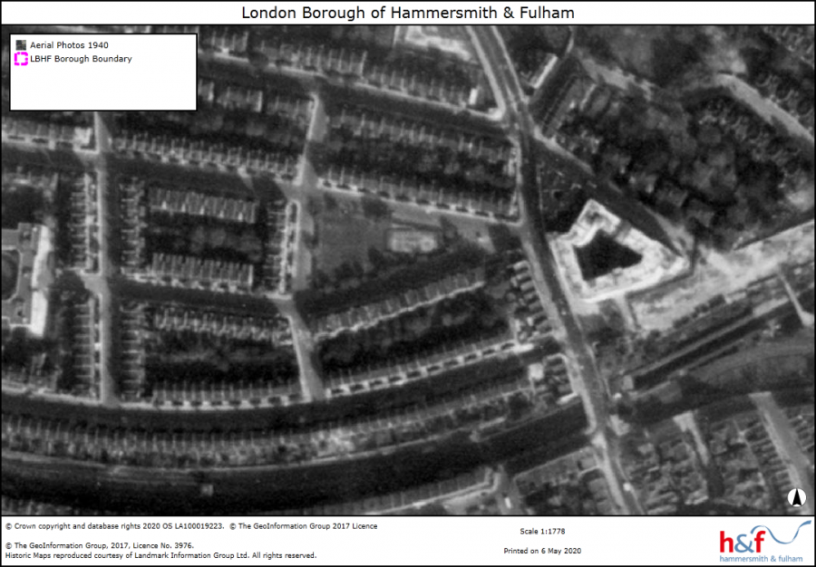 Monochrome aerial view of Gwendwr Gardens terraced houses showing map legends