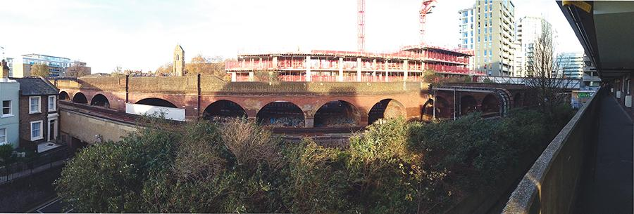 Panoramic view of the Hammersmith viaduct from a balcony