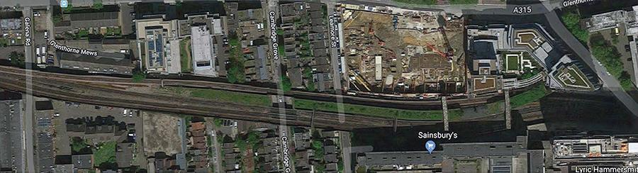 Ariel view of the Hammersmith railway viaduct