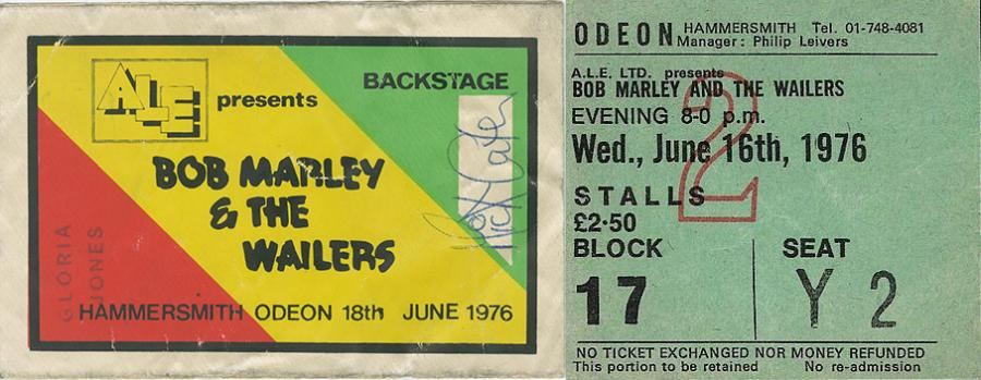 Backstage pass and stalls ticket for Bob Marley's Hammersmith Odeon gigs in 1976